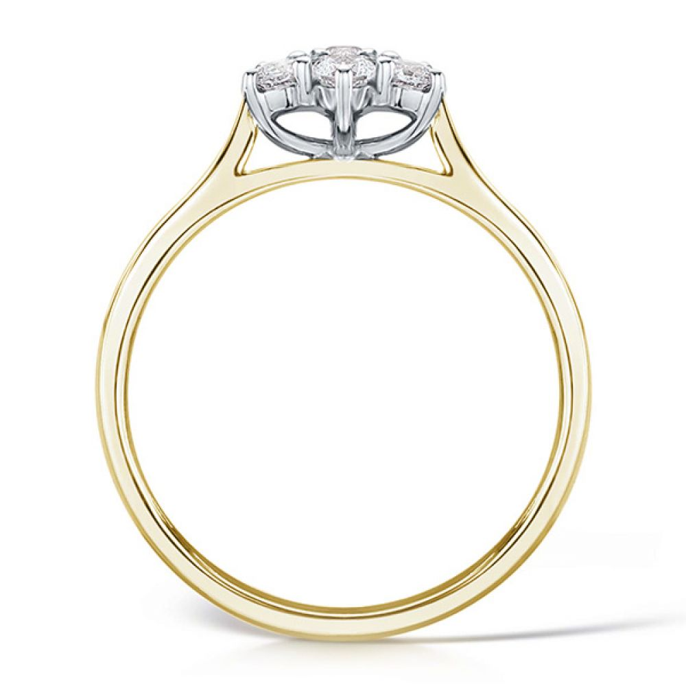 Daisy diamond cluster yellow gold side view