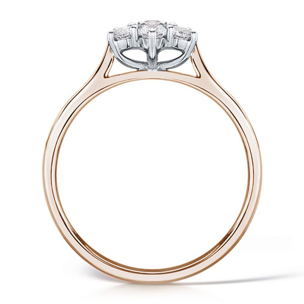 Daisy diamond cluster rose gold side view