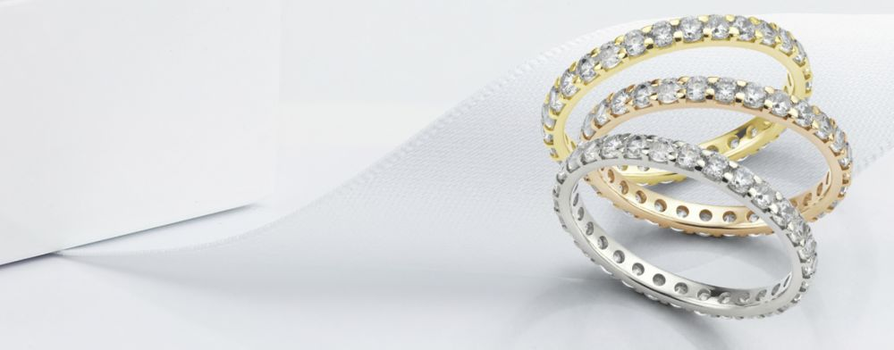 Thin diamond eternity rings