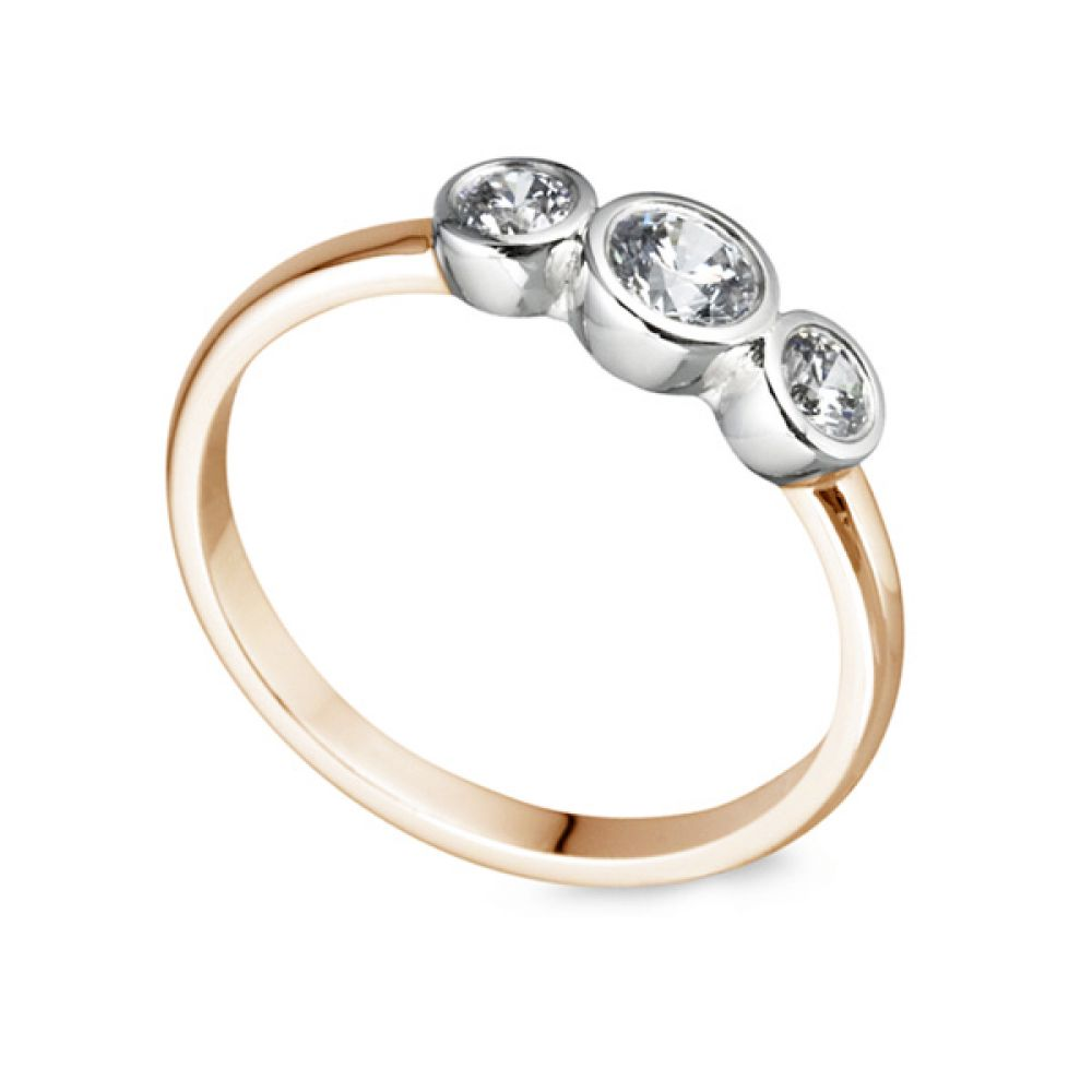 Gradated Bezel Three Stone Engagement Ring In Rose Gold