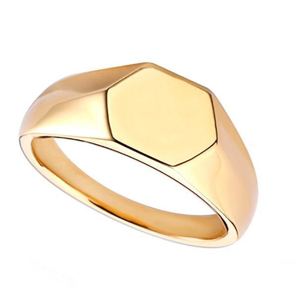 Engravable Hexagon Signet Ring Main Image