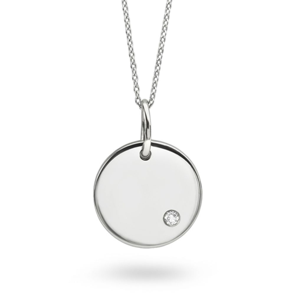 Gold Disc Necklace in White Gold with Flush Set Diamond
