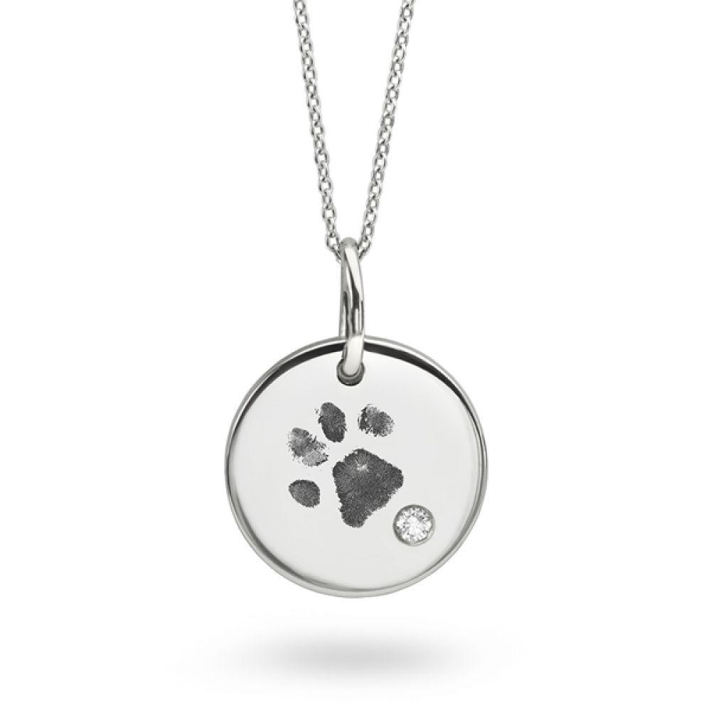 Dog Paw Print Necklace with Flush Set Diamond