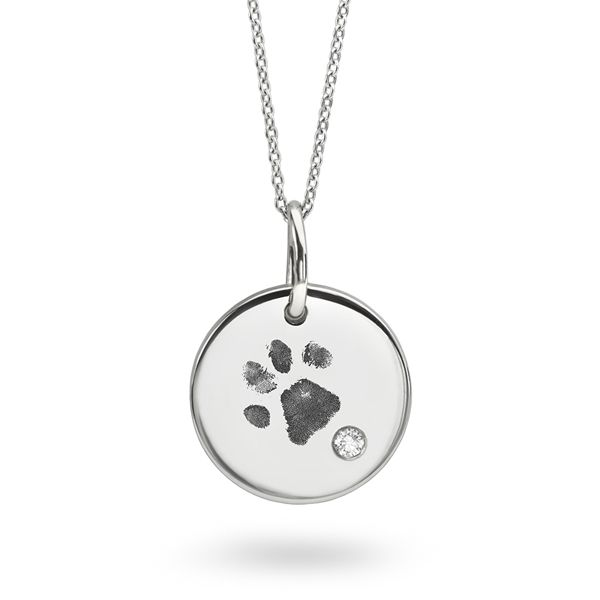 Paw Print Engraved Necklace Main Image