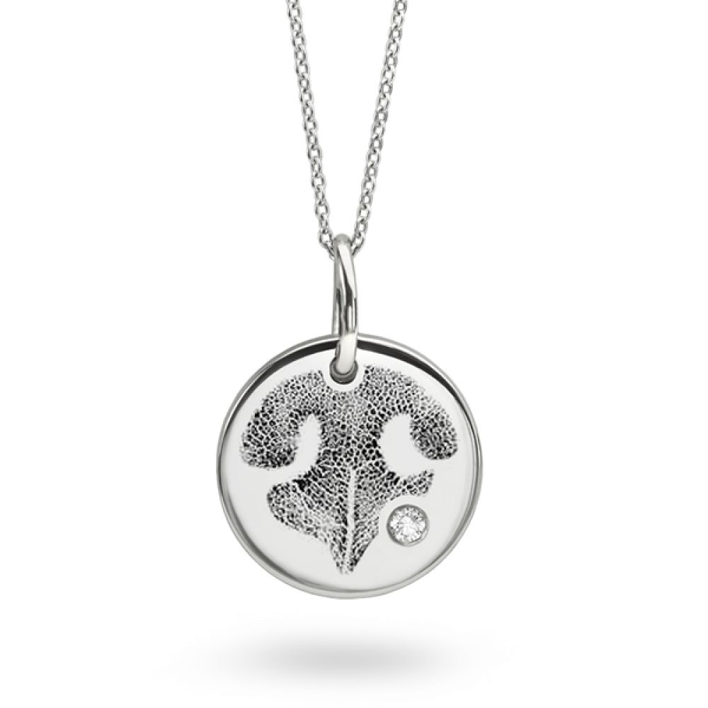 Dog Nose Print Necklace - Round Disc with Flush Set Diamond