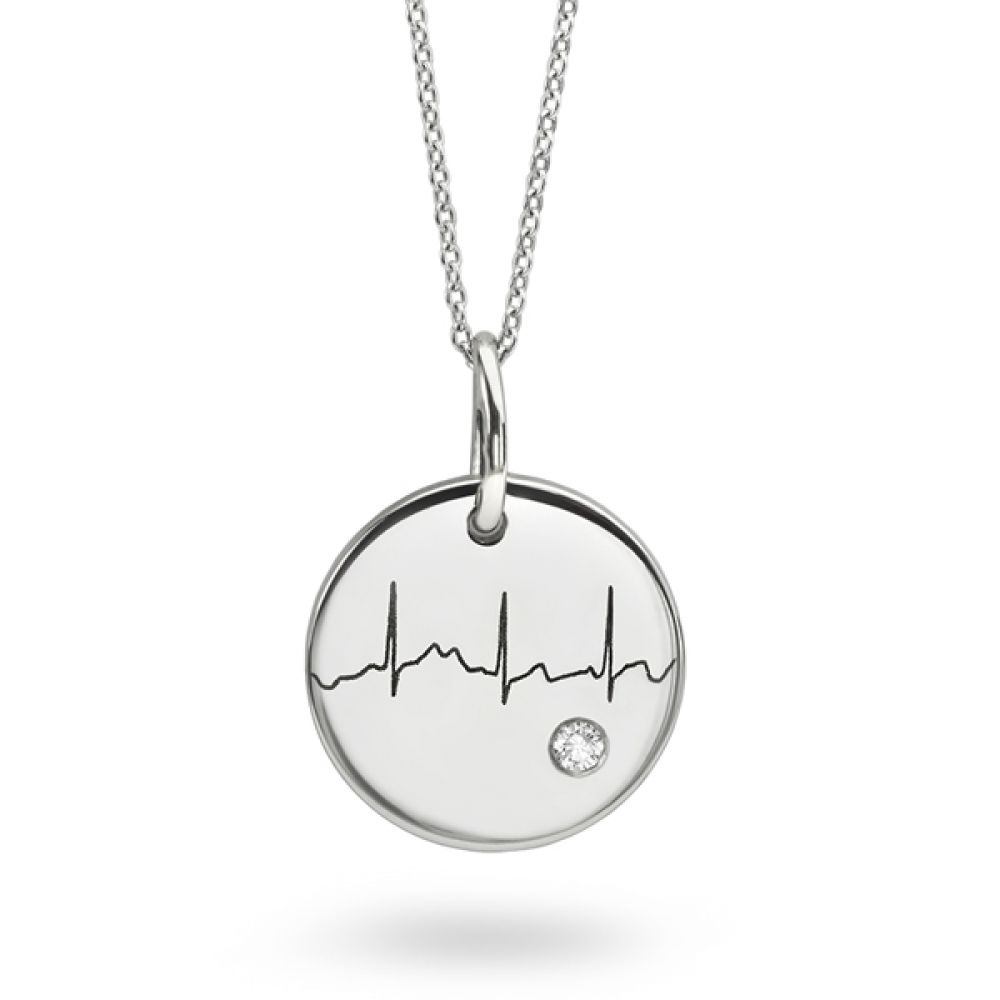 Actual Heartbeat Necklace with Diamond