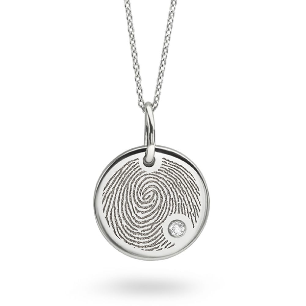 Fingerprint engraved necklace with flush set diamond