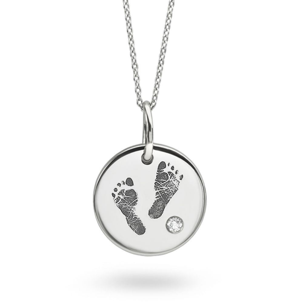 Baby Footprint Engraved Necklace with Diamond