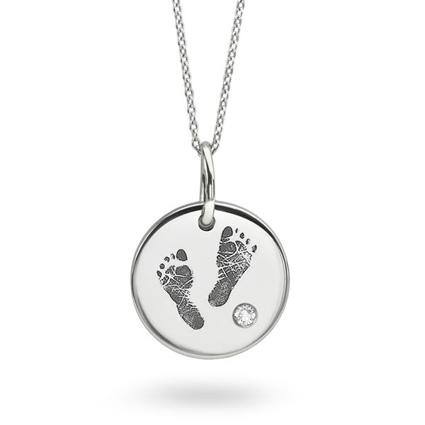 Foot Print Engraved Necklace Main Image