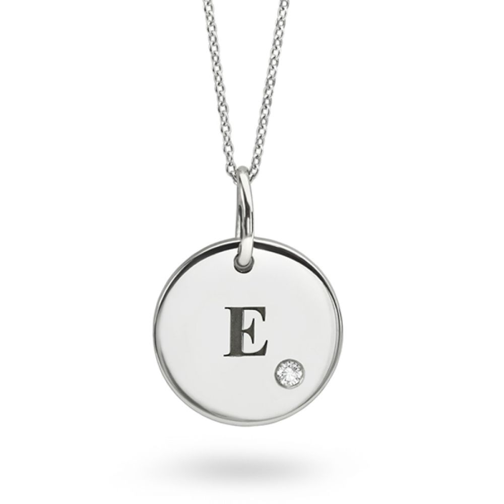 Engraved Initial Necklace in White Gold with Diamond