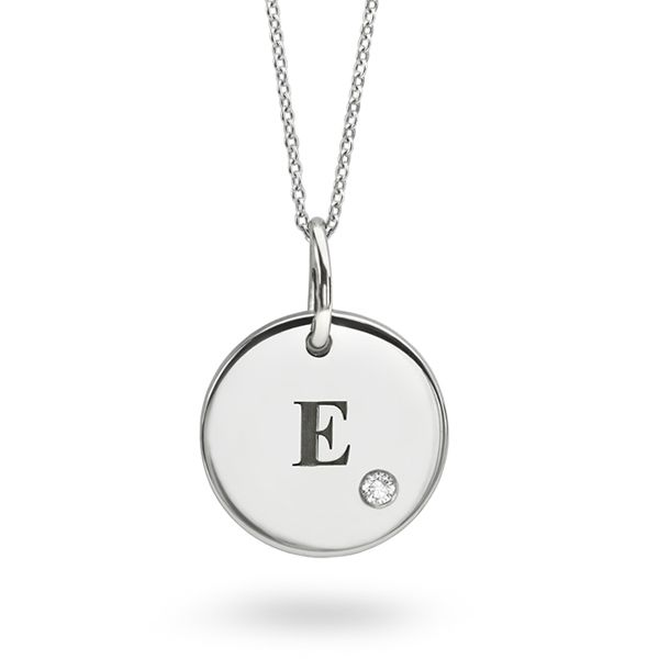 Engraved Initial Necklace with Diamond Main Image