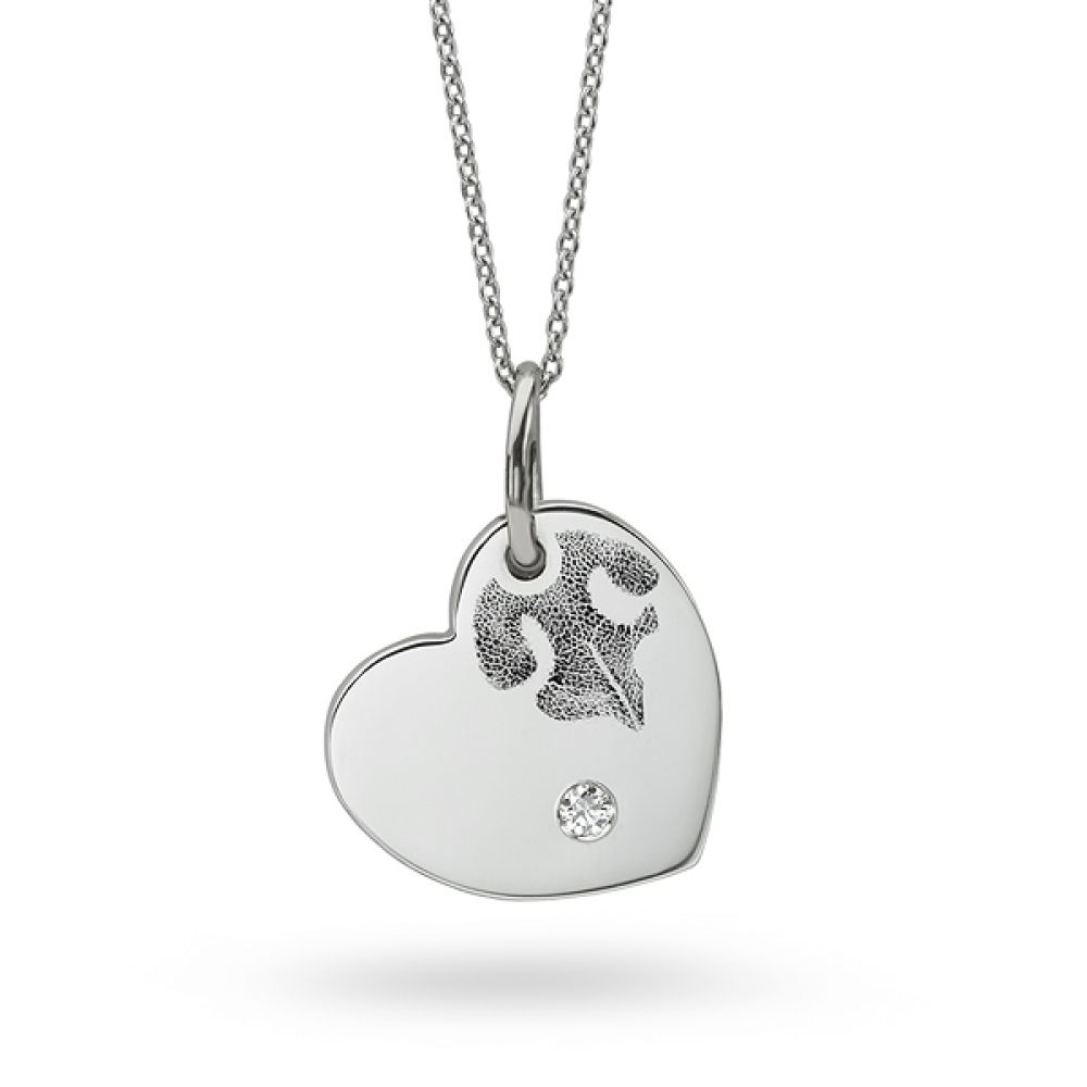 Nose Print Heart Shaped Necklace with Diamond