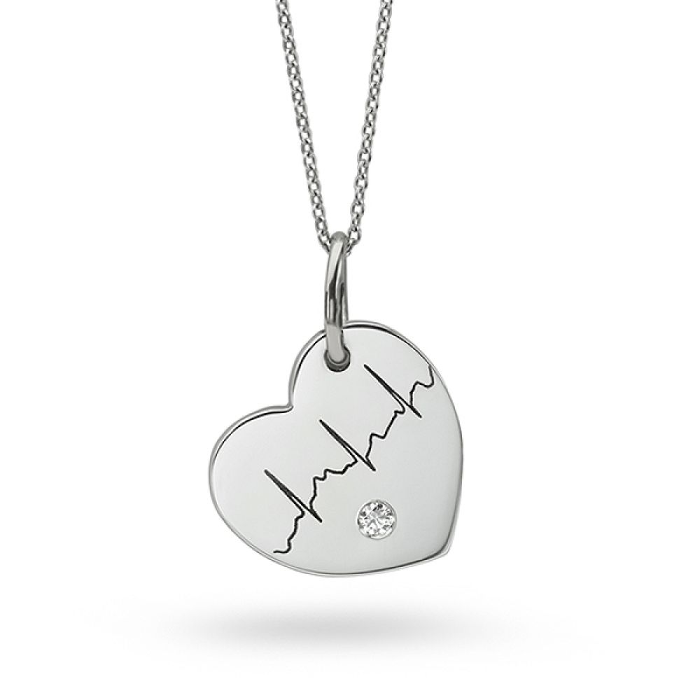 Diamond heartbeat necklace with flush set diamond featuring your actual heartbeat and optional message on reverse