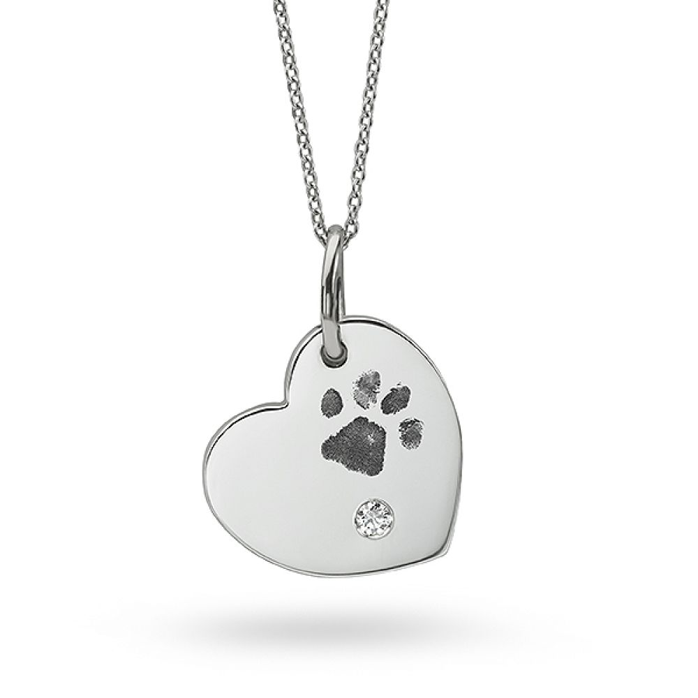 Paw Print Necklace - White Gold with Diamond and Heart Shaped Design