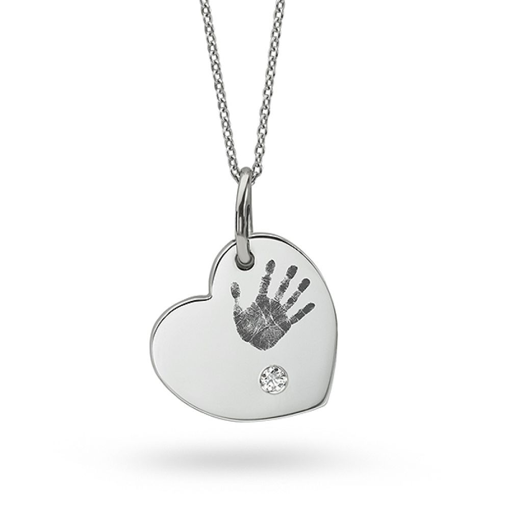 Hand Print Heart Shaped Diamond Necklace
