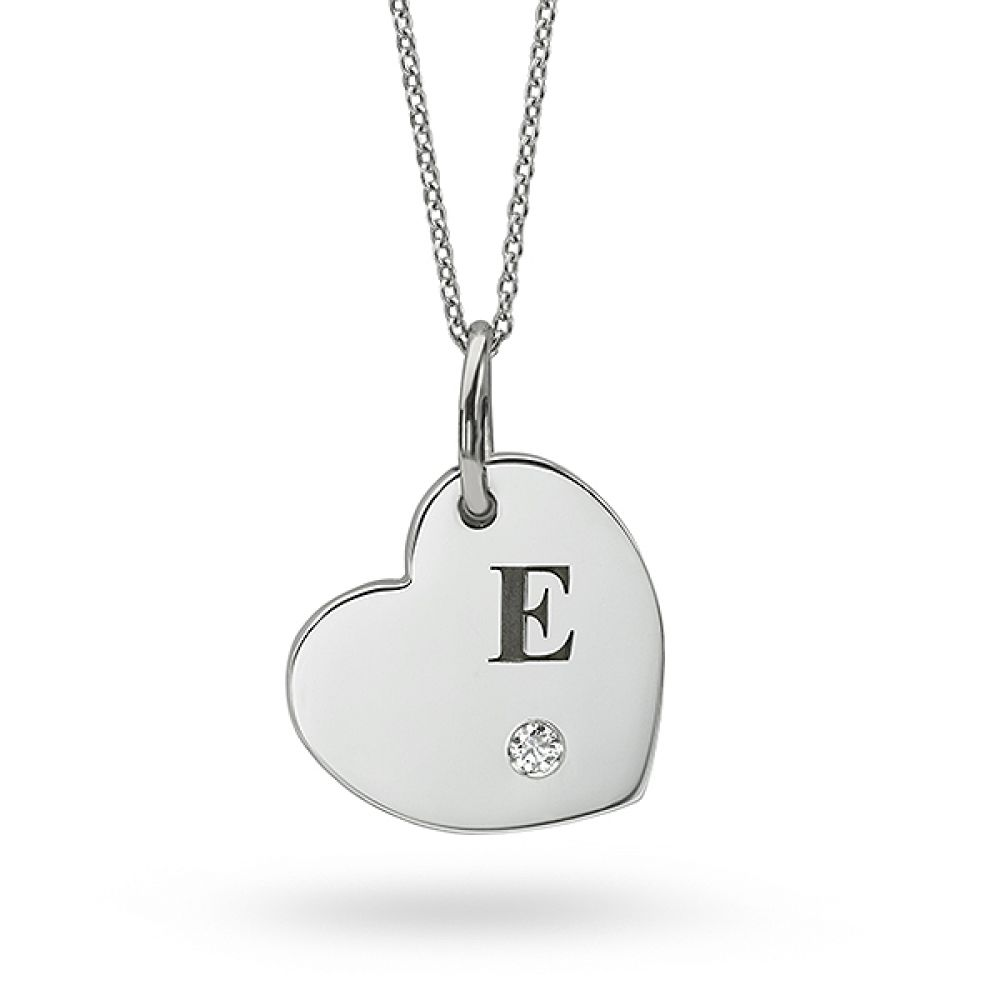 Letter Engraved Heart Shaped Diamond Pendant in White Gold