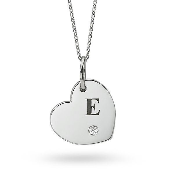 Letter Engraved Heart Necklace Main Image