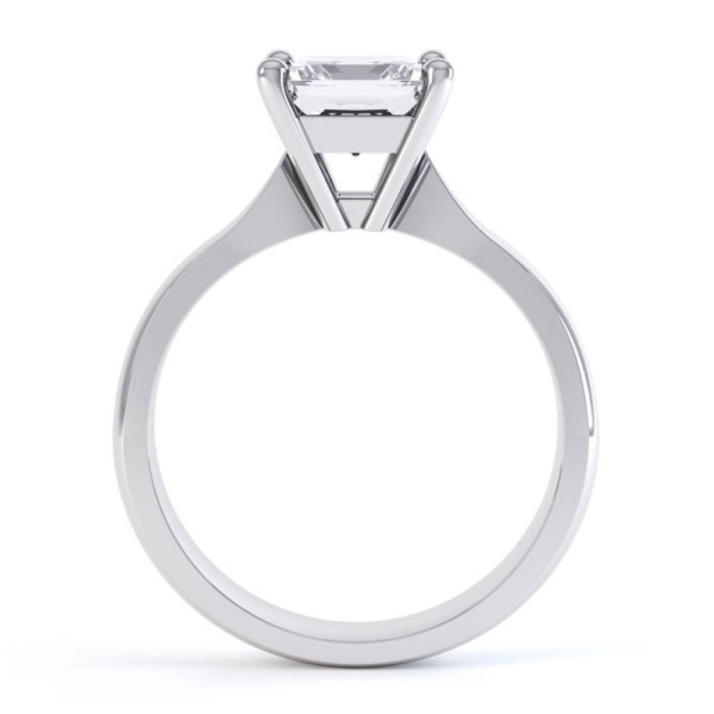 High 4 Prong Princess Cut Diamond Engagement Ring Side View