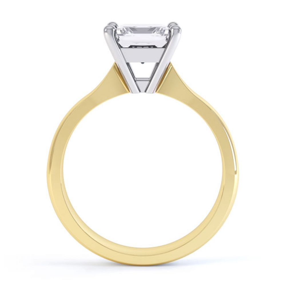 High 4 Prong Princess Cut Diamond Engagement Ring Side View In Yellow Gold
