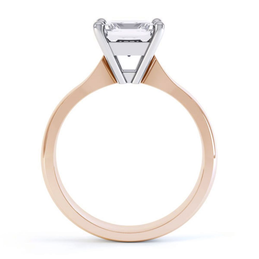 High 4 Prong Princess Cut Diamond Engagement Ring Side View In Rose Gold
