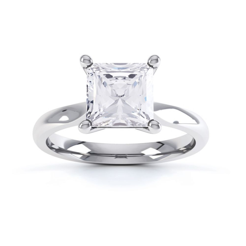 High 4 Prong Princess Cut Diamond Engagement Ring Side View Birdseye View