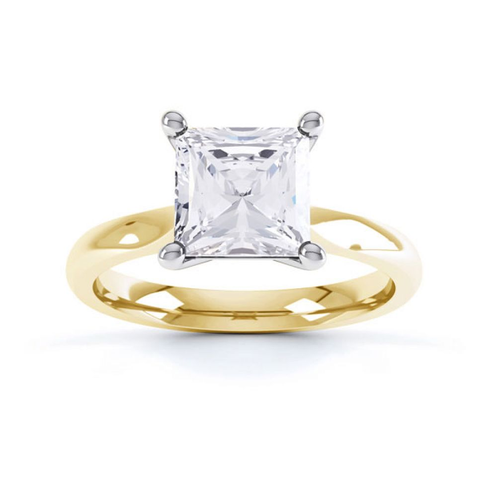 High 4 Prong Princess Cut Diamond Engagement Ring Side View Birdseye View Yellow Gold