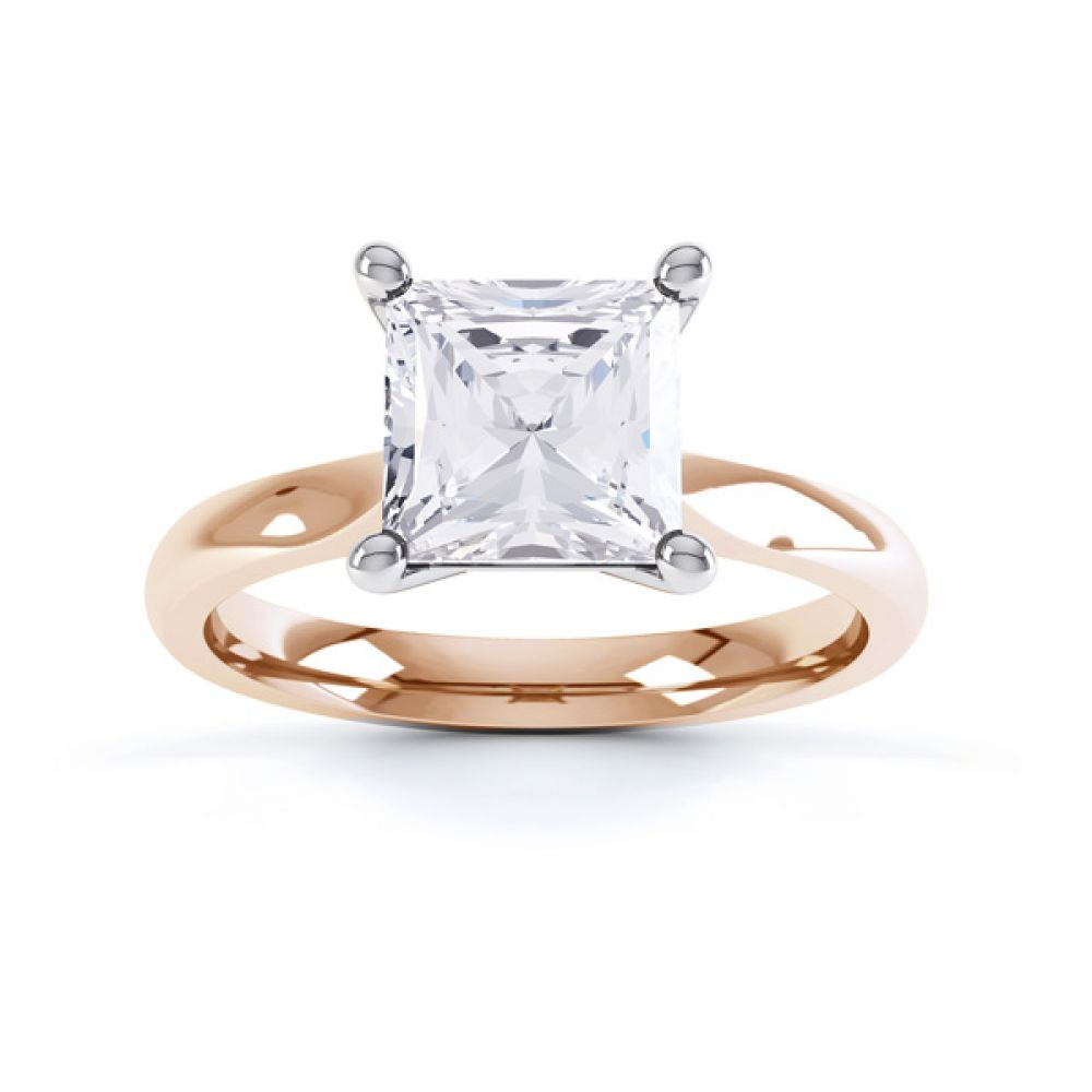 High 4 Prong Princess Cut Diamond Engagement Ring Side View Birdseye View Rose Gold
