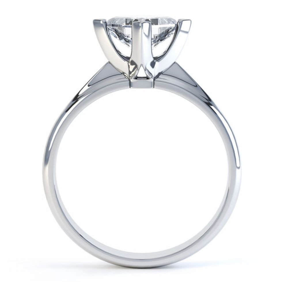 Compass Set 4 Claw Princess Cut Diamond Ring Side View