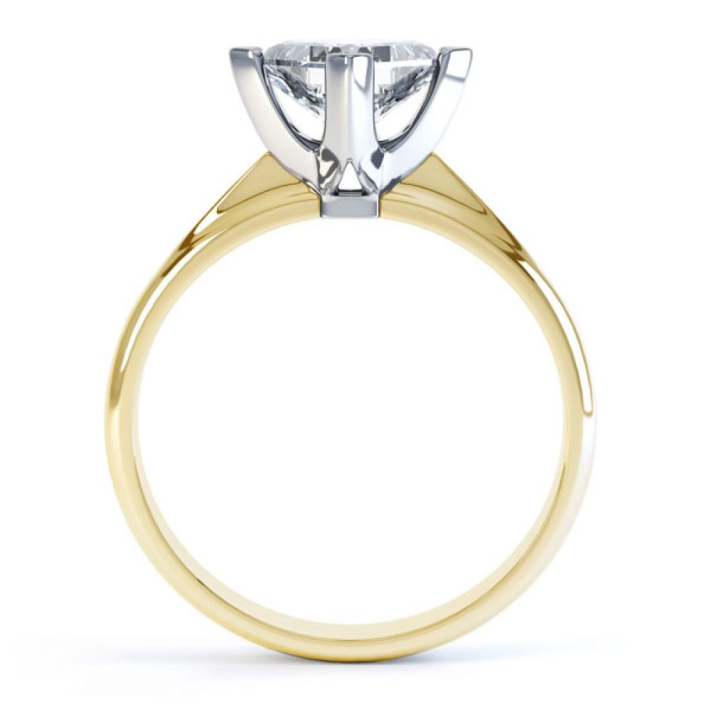 Compass Set 4 Claw Princess Cut Diamond Ring Side View In Yellow Gold