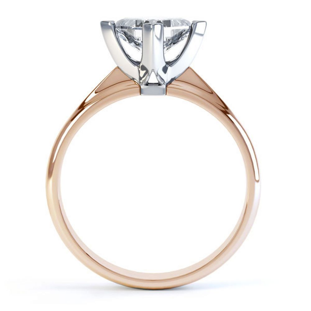 Compass Set 4 Claw Princess Cut Diamond Ring Side View In Rose Gold