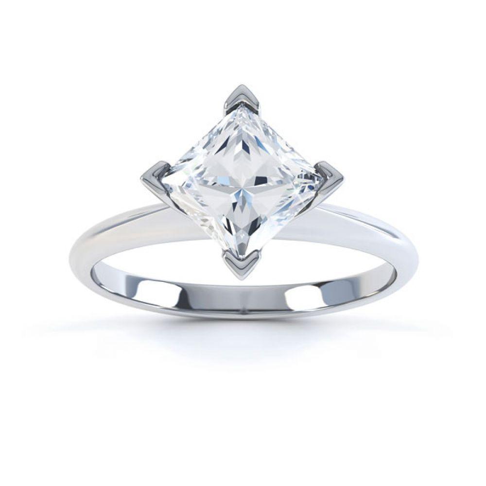 Compass Set 4 Claw Princess Cut Diamond Ring Top