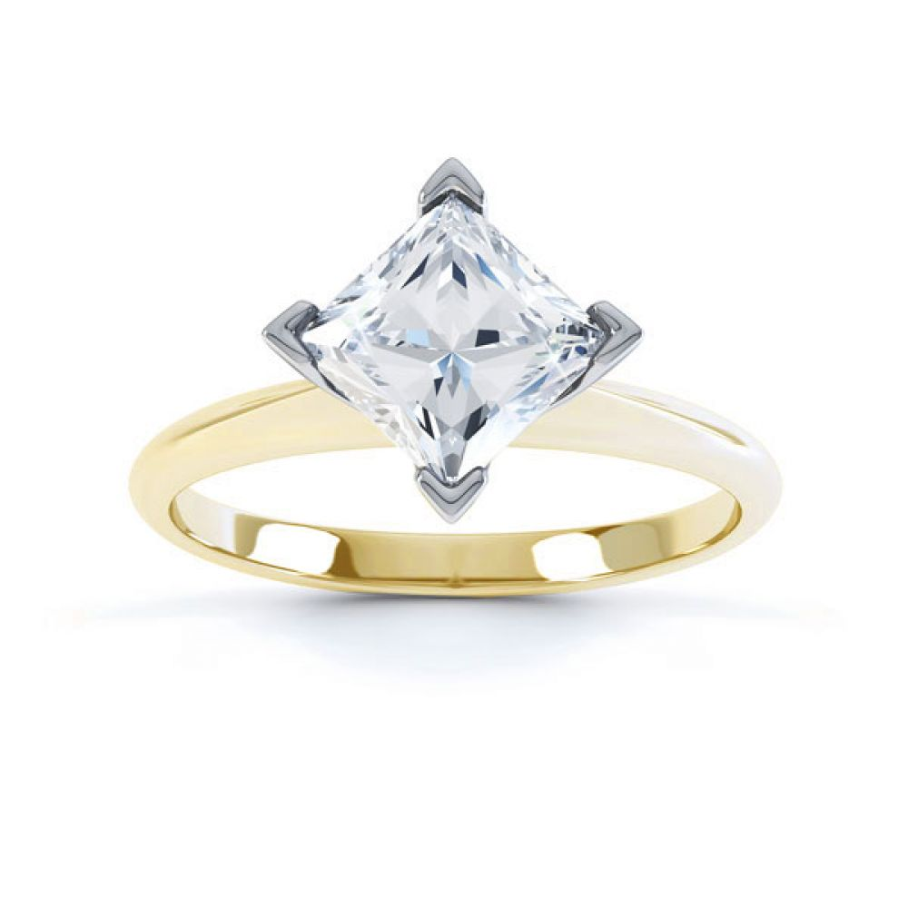 Compass Set 4 Claw Princess Cut Diamond Ring Top Yellow Gold