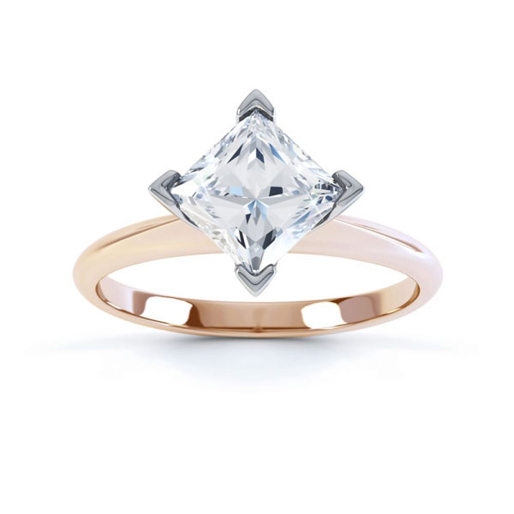 Compass Set 4 Claw Princess Cut Diamond Ring Top Rose Gold
