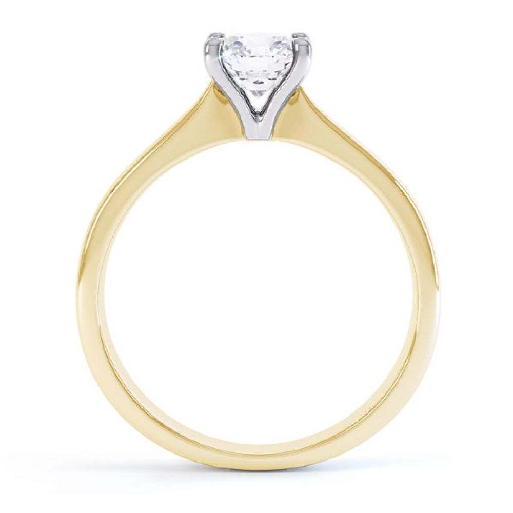 4 Claw Wedfit Round Solitaire Engagement Ring Side View Yellow Gold