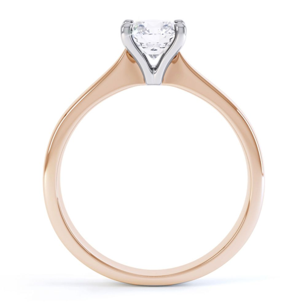 4 Claw Wedfit Round Solitaire Engagement Ring Side View Rose Gold