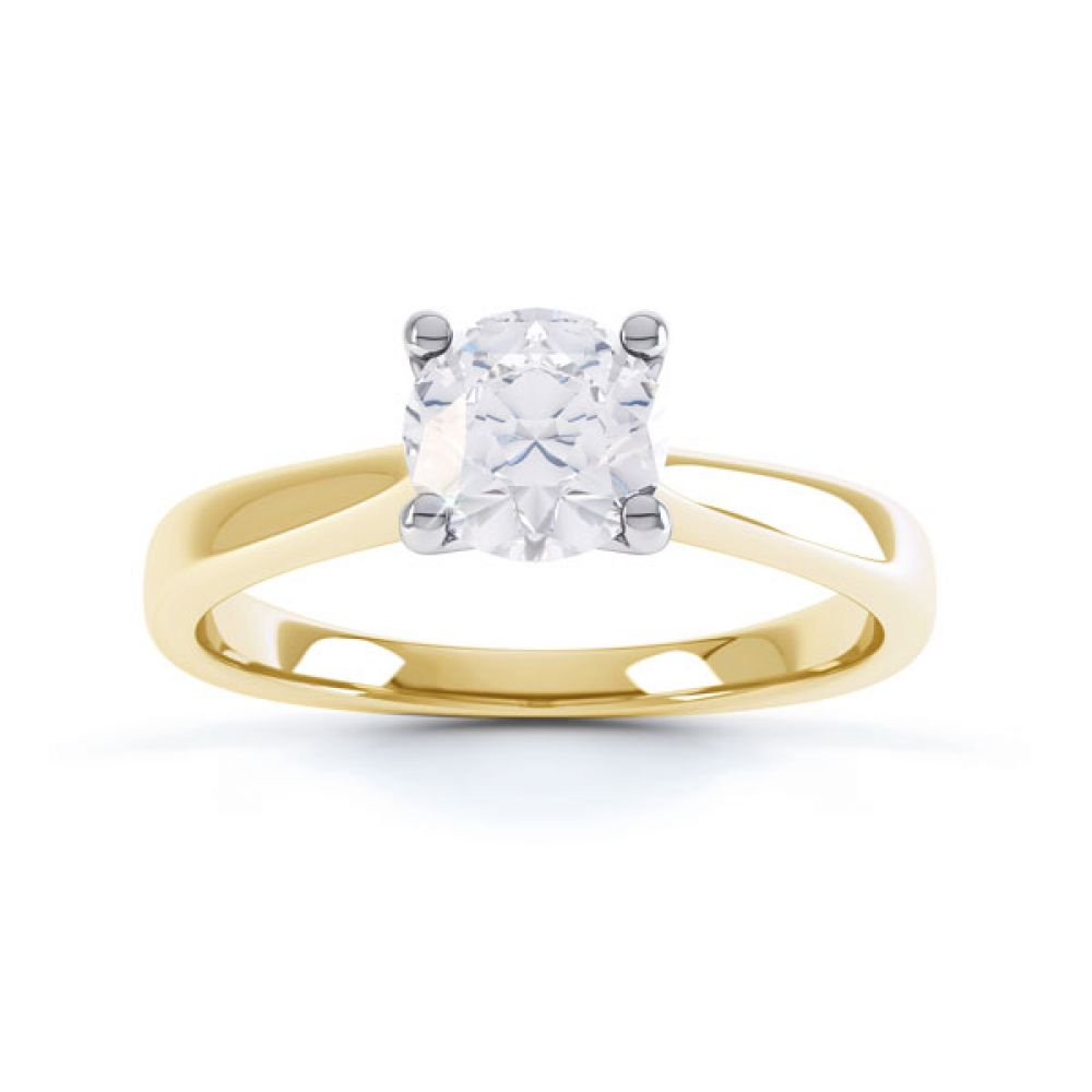 4 Claw Wedfit Round Solitaire Engagement Ring Top Yellow Gold