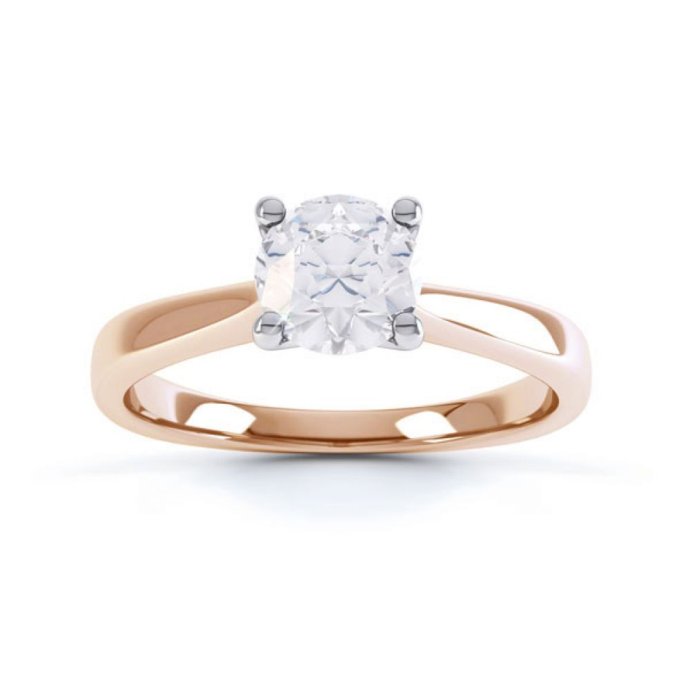 4 Claw Wedfit Round Solitaire Engagement Ring Top  Rose Gold