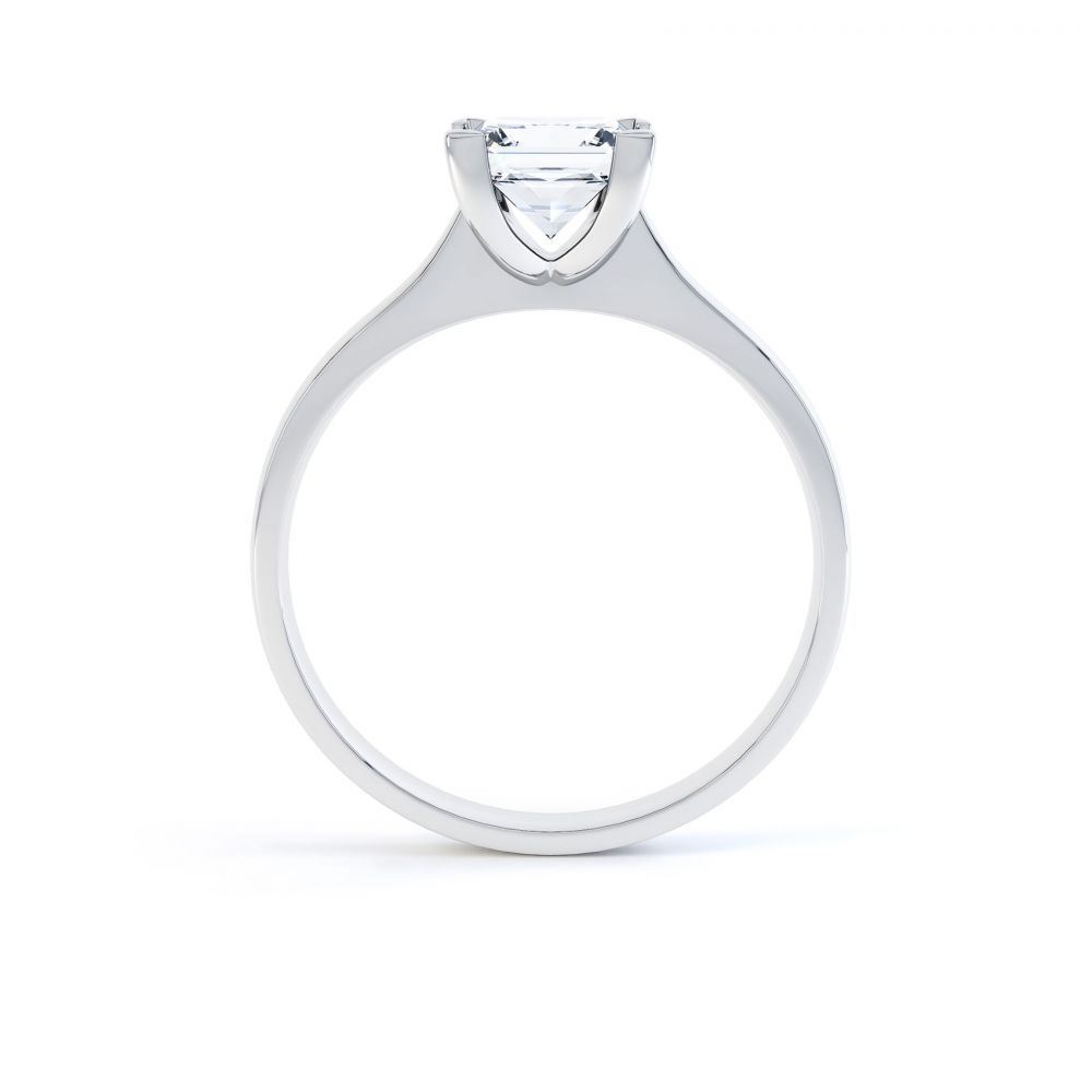 Princess Diamond Engagement Ring Square Claws Side View