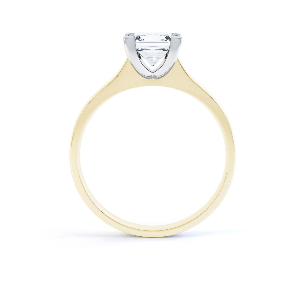 Princess Diamond Engagement Ring Square Claws Side View Yellow Gold