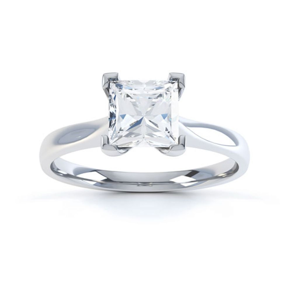 Princess Diamond Engagement Ring Square Claws Top