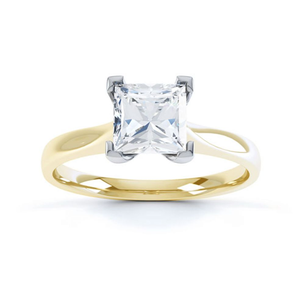 Princess Diamond Engagement Ring Square Claws Top Yellow Gold
