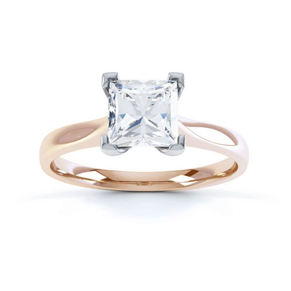 Princess Diamond Engagement Ring Square Claws Top Rose Gold