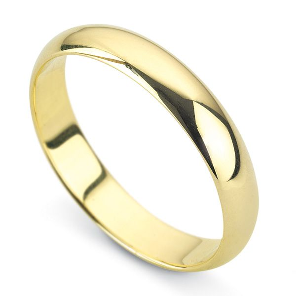 9ct Yellow Gold D Shaped Wedding Ring- Medium Weight  Main Image