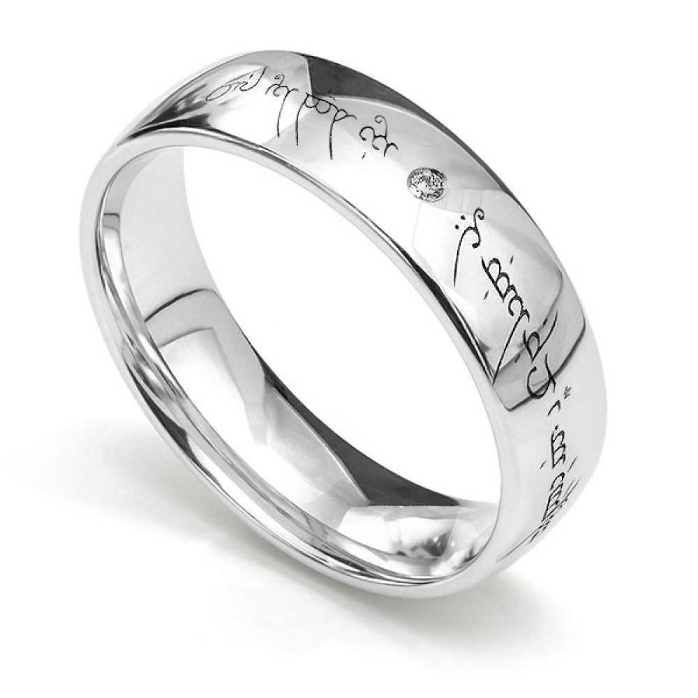 Lord of the Rings Unique Engraved Wedding Ring with Elvish engraving