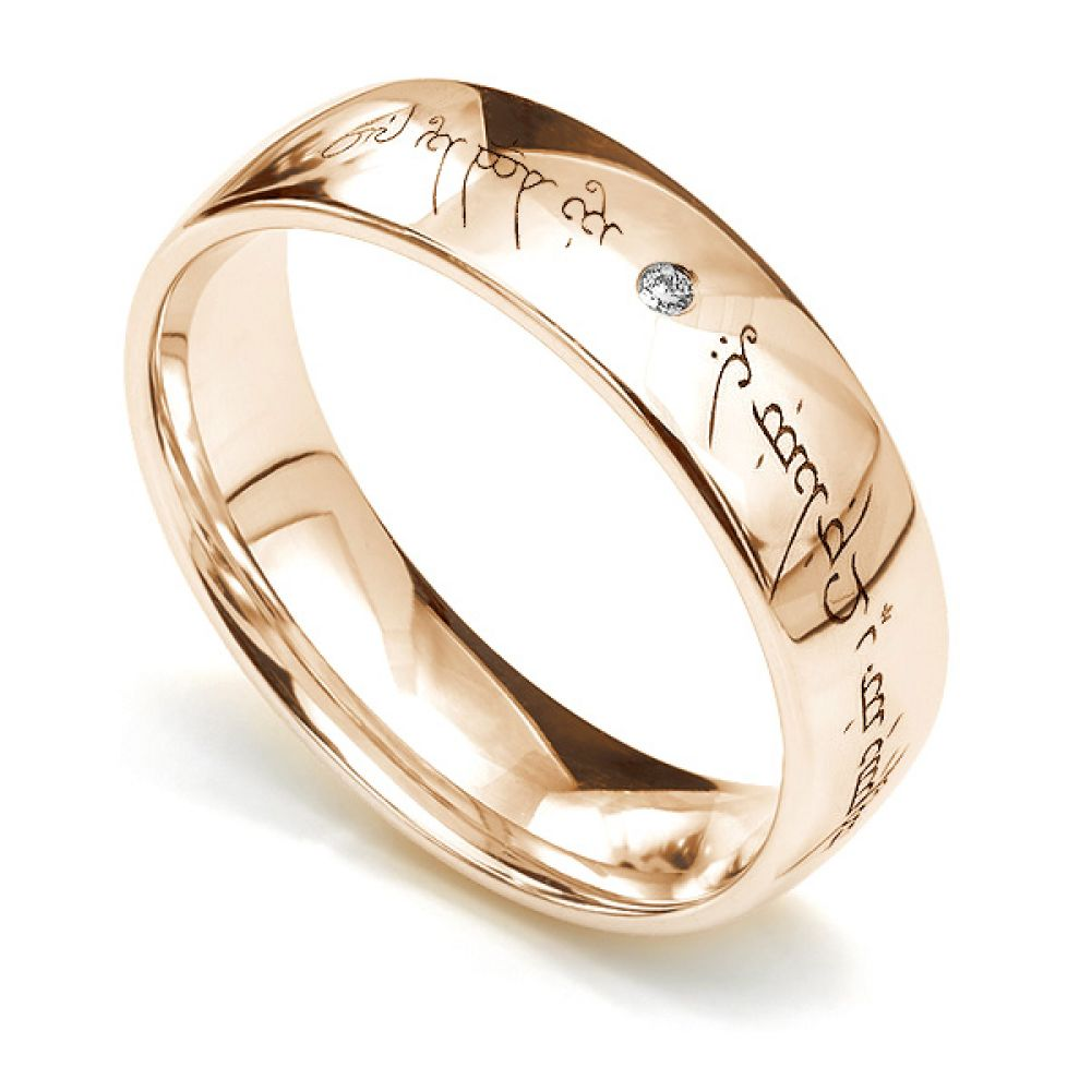 Lord of the Rings Unique Engraved Wedding Ring Rose Gold with Elvish engraving and flush set diamond