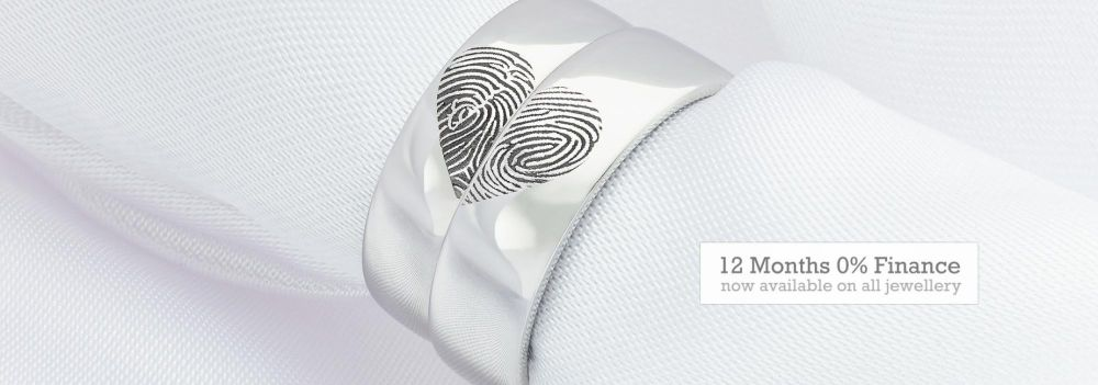Fingerprint wedding rings with heart