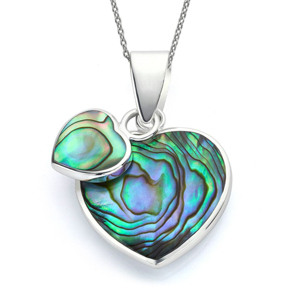 Paua Shell Double Heart Necklace