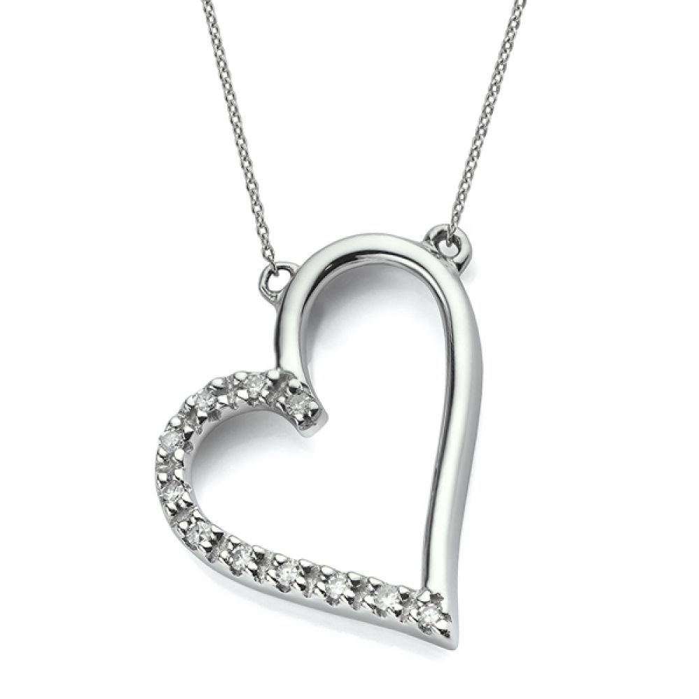 Diamond heart necklace in 9ct White Gold