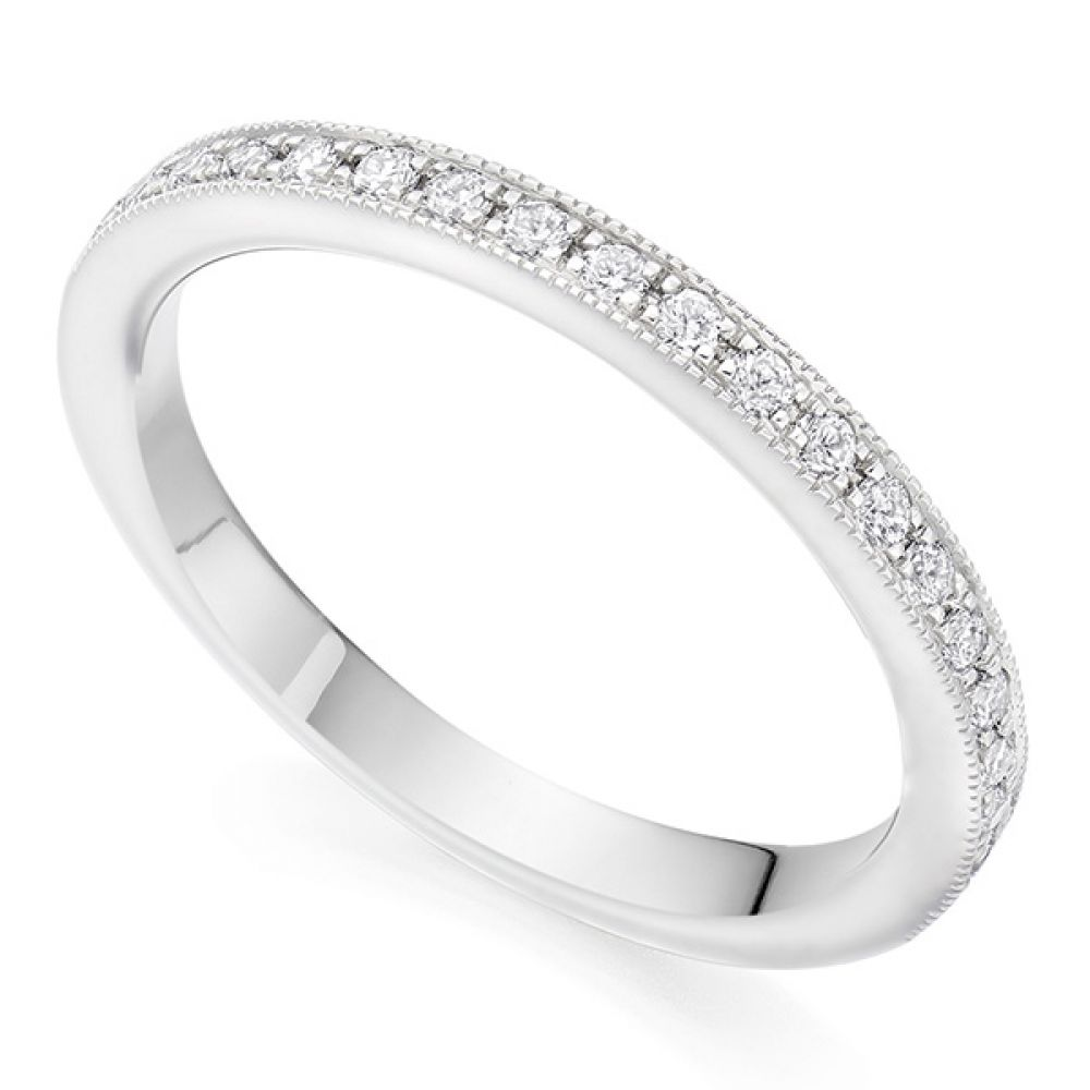 Grain Set Wedding ring - White Gold