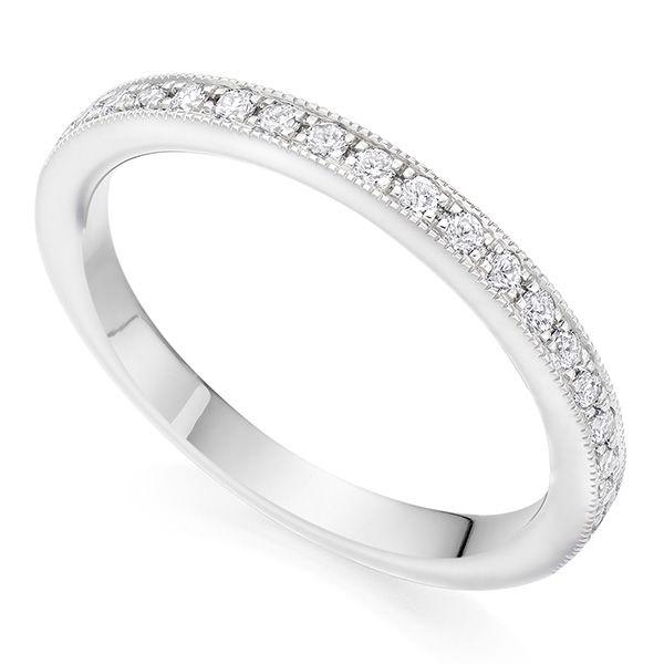 2mm Vintage wedding ring with Milgrain edge  Main Image